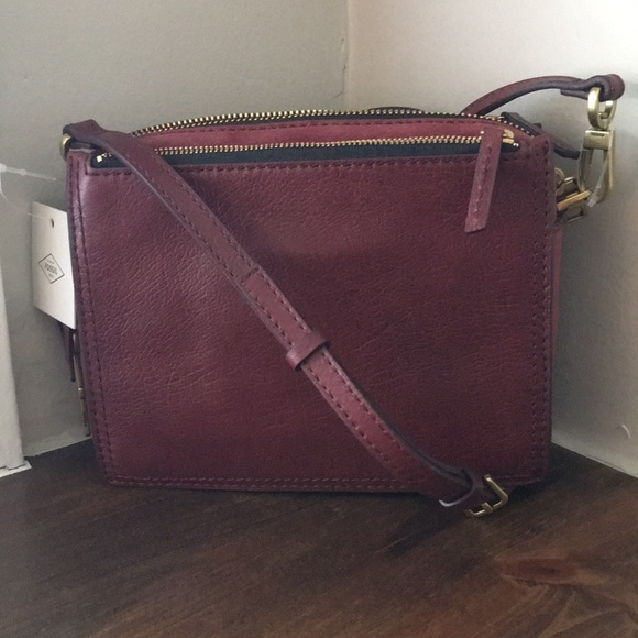 a8277c0b2669 Fossil Campbell Cabernet Wine leather Crossbody